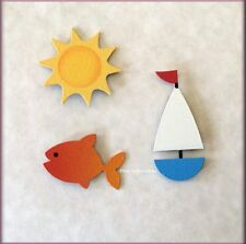 Summer Metal Magnets Sun Fish Sailboat Set of 3 By ROEDA® Made In USA