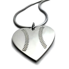 Baseball Heart Necklace on Rope Chain (sshsb) stainless steel NWT