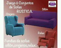 Conjunto de Fundas de sofa adaptables trio azul