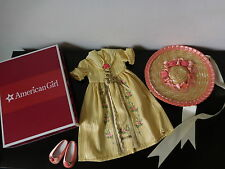 NIB COMPLETE American Girl Doll FELICITY TEA LESSON GOWN Hat Shoes OUTFIT