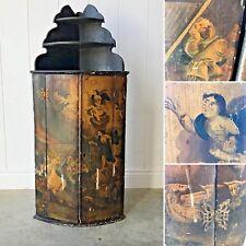ANTIQUE ITALIAN / DUTCH 18th Century Painted Corner Cabinet Cupboard Biblical