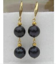 AAA 9-10mm black pearl dangle earring 14K gold south sea swing earrings