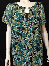 east 5th New Womens Plus 1X Two Piece Top Sime Sheer With Cami Green Black
