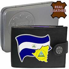 NICARAGUA Klassek Mens Leather Wallet NICARAGUAN Flag map Emblem gift Metal Box