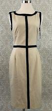 Calvin Klein dress 4 beige black sheath career sleeveless NEW