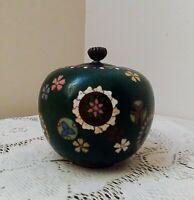 Antique Chinese Copper/Brass Cloisonne Ginger Jar, Vase, Urn w/Lid Floral Motif