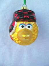 Big Bird Head Glass Christmas Ornament!  RED PLAID HAT WITH EAR FLAPS!  ADLER!