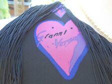 Versace AT H&M Silk Black Fringe Tassel Pink Hearts Dress UK12 EUR38 100% Silk