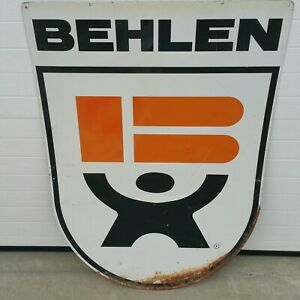 "Vintage 1960's Large Behlen MFG Co Grain Bins Seed Corn Feed Farm 40"" Metal Sign"