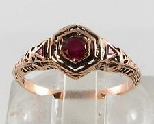 DIVINE 9CT ROSE GOLD ART DECO INS INDIAN RUBY FILIGREE RING FREE RESIZE