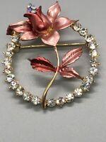 Vintage Pin Brooch Leaf Rhinestone Wreath Enamel Gold Tone Sparkly Beautiful ~