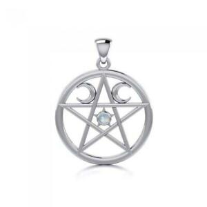 Pentacle Moon Pendant .925 Sterling Silver by Peter Stone Jewelry Fine Wiccan