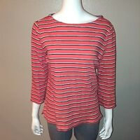 Nautica Knit Top Size L Large Womens Blouse Tee Orange Striped 100% Cotton