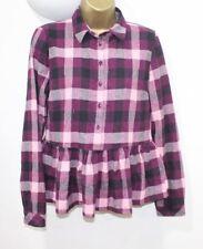 Ladies Top 10 Check 100% Cotton Shirt Peplum Pink Black Purple Long Sleeve NWT