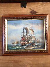 PITTURA ad olio su tela FLORA galeoni in mare battaglia-firmato da Ambrose