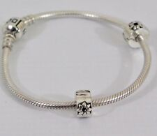 New Silver Plated daisy floral bead Slim SPACER Clip Stopper euro bracelet Charm