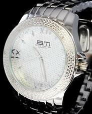 Mens 48mm .08ctw Diamond Watch Silver Tone Roman Numeral Bling Hip Hop