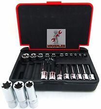 """New 22PC 1/4"""" & 3/8"""" DR. Female TORX Socket Set Star Socet E4-E10 E11-E18 Skts"""