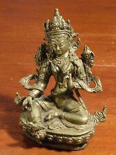"""Green Tara Beautiful 5-3/4"""" Tall Tibetan Brass"""