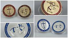 2 Stück Tempelritter Kreuzritter Silber Gold Coin Medaille farbig color sammeln