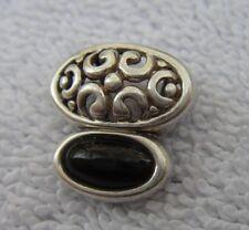 Fine Sterling & Onyx? Small Filigree Slider Pendant-Signed A-Nr