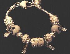 "White/Black/925 Silver European Charm Bracelet 7.5"""