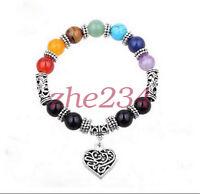 8MM Natural 7 charka gemstone stones round beads Tibet silver bracelet bangle @