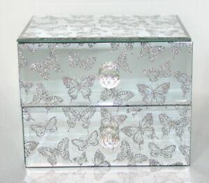 Stunning Silver Glitter Butterfly Glass Jewellery Trinket Box Perfect Gift