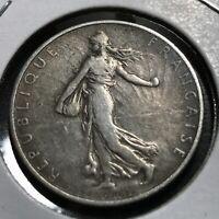 1918 FRANCE SILVER 2 FRANCS NICE  COIN