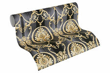 Luxus Vlies Tapete Barock Muster Ornament schwarz gold metallic 330836 streifen