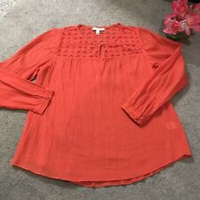 J Crew Embroidered Lace Gauze Peasant Top Size 6 Red Orange 01237