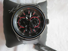 Kenneth Cole New York Men's Black Silicone / Leather Strap Watch 10022536 NIB