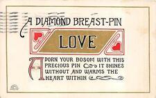 A DIAMOND BREAST PIN LOVE POEM TOPEKA KANSAS POSTCARD 1911