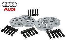 4 Pc Audi 15mm Hub Centric Wheel Spacers 5x100 5x112 W/ 14x1.5 BLACK Lug Bolts