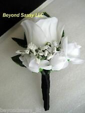 Black Satin Wrap Single White Rose Bud Flower Boutonniere Prom Wedding Groomsmen