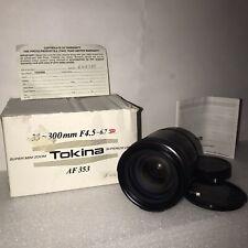 NEW TOKINA AF 353 35-300MM F4.5-6.7 SUPER MINI ZOOM SUPERIOR OPTICS FITS CANON