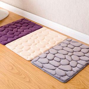 Non-slip Bathroom Memory Foam Carpet Toilet Bath Mats Floor Mattress Pebble Pad