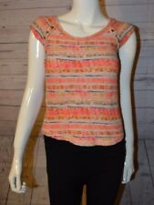 Zara T-Shirt Collection Small Short Sleeve Orange Studded Top Cotton Scoop Neck