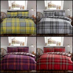 TARTAN CHECK Brushed Cotton Flannel / Flannelette Duvet Cover Single Double King