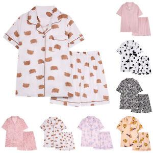 Women Girls Short-Sleeved Shorts Pajamas Casual Baggy Nightclothes Two-Piece Set