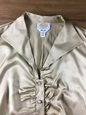 Talbots Women Silk Blouse Size 18W Gold Button front