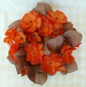 Vintage Floral Candle Ring Orange Rust Flowers Brown Leaves Fall Autumn Harvest
