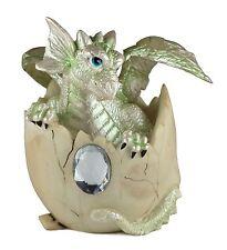 "Light Green Baby Dragon Hatching From Egg Figurine Hatchling 4.25""H Resin NIB"