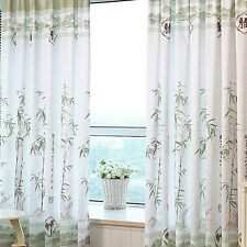 Bamboo Floral Tulle Voile Door Window Curtain Drape Panel Sheer Scarf Divider
