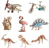 Animal Puzzle Woodcraft Construction Kit Educational Toys Wooden Model Kit 3D