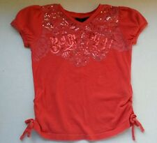 Baby Phat Girlz Casual Shirt Top Sequins Bling Girl's 6X Melon Short Sleeves
