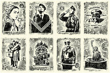 Shepard Fairey DAMAGED STENCIL SET - Signed & Numbered 8 prints black and white