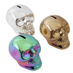 Metallic Skull Money Box Tattoo Studio Silver Rainbow Gold Savings Christmas UK