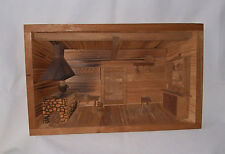 Nice Rustic Cabin 3D Interior Scene Wooden Wall Hanging Man Cave Fast Free Ship