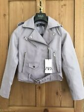 Zara Lilac Light Mauve Faux Leather Biker Jacket XL. Brand New With Tags. SS20